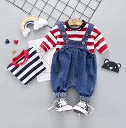 e48484eb1f4d9 New Spring Autumn Baby Boys Clothes Set Kids Long Sleeve Stripe Tshirt Tops  + Jeans Suspender Pants Overalls 2pcs Children Outfits 4625