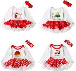 Bonitas cintas para la cabeza online-Precio especial Pretty Girls Dress Set Dot Kids Vestidos de gala + Corbata de lazo Tema de Navidad Encaje Lateral Princesa hermosa