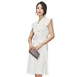 Vestidos formais desgaste escritório verão on-line-Double breasted decote em v manga curta mosca dress estilo formal escritório ladies wear verão na altura do joelho mais novo design mulheres vestido branco