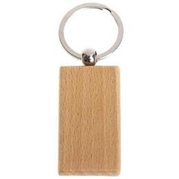Grabar llaveros online-60Pcs Rectángulo en blanco Llavero de madera Diy Llaveros de madera Las etiquetas clave pueden grabar regalos Diy CNIM caliente