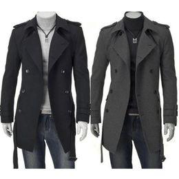 2019 черный кардиган с поясом Мода зима Мужчины Куртки Черный Серый Поддельный Wool Trench Мужчины Кардиган Бизнес Одежда Slim Fit Belted Длинные пальто Outwear Hombre