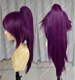 2019 peluca de cola morada Peluca Bleach Shihouin Yoruichi 60cm Purple Lolita Cosplay Party Wig w / Ponytail Envío gratis peluca de cola morada baratos