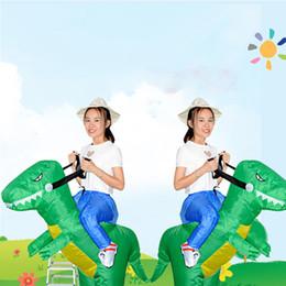 2019 traje de urso tamanho completo Agitando com crianças dinossauro tridimensional terno inflável adulto pode montar tiranossauro Rex vermelho inflável mascote