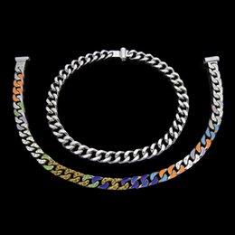 2019 tendência de colar de corrente luxo designer de jóias homens colares de moda cadeia hop prata hip grosso colar de corrente de aço inoxidável do punk gota de óleo flor impressa