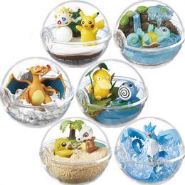Wholesale 6cm Pikachu Psyduck Charizard Transparent Blind Box Szene Tierfiguren Desktop Ornamente Stile Stück pro Set LA58