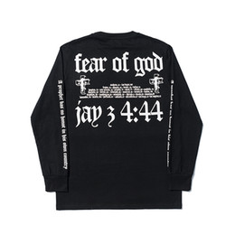 x masculin Promotion Peur de Dieu x JAY-Z 4:44 MAXFIELD T-Shirt Hommes Lettre Noire Imprimer Manches Longues Tshirt Hip-Hop Streetwear Tee Shirts Top YCI0223