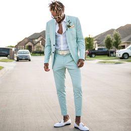 Nane Yeşil erkek Takım Elbise 2020 Slim Fit İki Adet Plaj Groomsmen Düğün Smokin Erkekler Için Çentikli Yaka Örgün Balo Suit (Ceket + Pantolon) nereden
