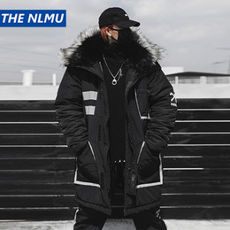 20d5d0e28c51d Black Winter Thick Jacket Parkas Men Hooded Fur Collar Coats Parka  Streetwear Mens Hip Hop Long Warm Windbreaker Coats WJ091