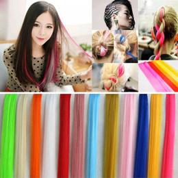 блики для наращивания волос Скидка Long Straight Fake Colored Hair Extensions Clip In Highlight Rainbow Hair Streak Pink Synthetic Strands on Clips
