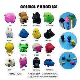 pinguinspielzeug Rabatt Cartoon Nette 16 Tiere TPR Action Figure Modell Bleistift Topper Spielzeug Pinguine schildkröten Sauger Emoji Spielzeug Geschenke Für Kinder