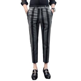 Nouveau pantalon hommes mode messieurs rayé casual sociale robe costume pantalon vente chaude pantalon slim fit hommes vêtements hommes pantalons ? partir de fabricateur