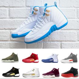 2019 novos jogos de trem 2019 JordanNovas 12s jumpman Sapatos Pretos Branco FIBA CNY Playoff basquete masculino 12 Jogo cereja escura Royal Blue Grey Sneakers Training novos jogos de trem barato