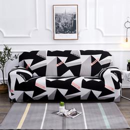 Sofá gris negro online-Negro blanco gris 1/2/3/4 asiento Sofá cubierta Envoltura apretada todo incluido asiento elástico seccional sofá cubre sofá Cubriendo Fundas