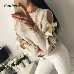 2019 suéter de coelho angorá Fanbety Mulheres oco Out bowknot camisola de malha Lady O Casual Long Neck Sleeve Puxe Jumper Femme Inverno Hiver Ribbed Pullovers