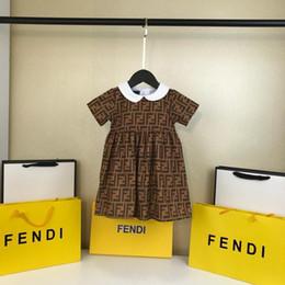 robes de baptême gonflées Promotion robe d'été bébé fille vêtements revers lettre imprimer robe à manches courtes vêtements pour enfants vêtements de mode décontractée vêtements pour enfants filles QA-5