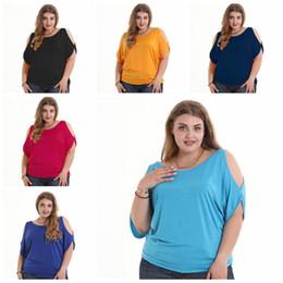 S-6XL Wholesale Women T-shirt Scoop Neck short Bat batwing sleeve shirt  Chiffon Sexy Off Shoulder blouse fat Ladies Large Casual Plus Size 9a1b7599e0d3