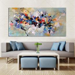 Migliori dipinti per la casa online-Best New Picture pittura astratta pitture a olio su tela di canapa 100% Handmade Arte variopinta tela moderna per la casa della decorazione della parete SH190919