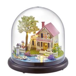 Iluminação em miniatura on-line-Villa House Music Box Série de Viagem DIY Casa De Bonecas Em Miniatura Com Luzes LED Capa Coleção Amigo Presente Brinquedo Decoração de Casa