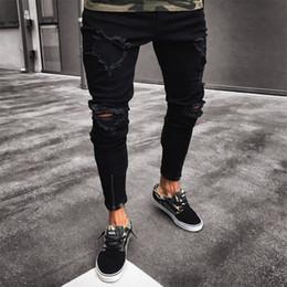 2019 hombres de moda ajustados pantalones legging Diseñador Jeans Moda hombre Hip Hop de gama alta Tight Zipper Narrow Leg Pants Jeans hombres pantalones delgados venta al por mayor S-XXXL envío gratis hombres de moda ajustados pantalones legging baratos