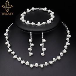 brincos de colar de pérolas simples set Desconto Jóias TREAZY Simulado Crystal Pearl nupcial simples conjuntos de cristal Mulheres Choker colar brincos pulseira jóia casamento conjuntos