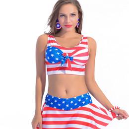 2019 bandiera di balneazione Costume da bagno a due pezzi Costume da bagno a righe costume da bagno con bandiera americana Costume da bagno bikini a costine color oro sconti bandiera di balneazione