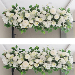 2020 arranjos florais de peônias 50 / 100cm DIY parede da flor do casamento Arranjo Supplies Silk Peônia Rose Artificial Flor Row Decor Wedding Arch Ferro de Fundo arranjos florais de peônias barato