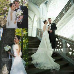2019 sexy Backless della sirena Abiti da sposa con 1/2 maniche Applique del merletto metà sweep treno su ordine Country Wedding Abito da sposa taglie forti da