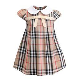Vente chaude 3 couleurs 2019 nouvelle arrivée été filles revers académie vent jupe plissée sans manches coton de haute qualité bébé enfants grande robe à carreaux ? partir de fabricateur