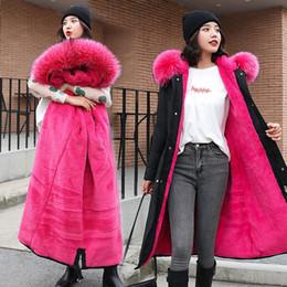 Spesso campeggio online-Cotone cappotto delle donne di inverno di lunghezza media in stile coreano Slim Fit Grande collo di pelliccia di cotone imbottito di vestiti delle donne di nuovo stile caldo di spessore