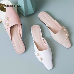 2e40eaadf8dba Discount pink mule slippers - MNIXUAN Handmade comfortable pearls women  summer shoes flats mules 2019 new