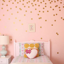 Золотые наклейки на стену онлайн-1pc Gold Polka Dots Wall Sticker Baby Nursery Stickers Children Removable Wall Decals Home Decoration Art  Art