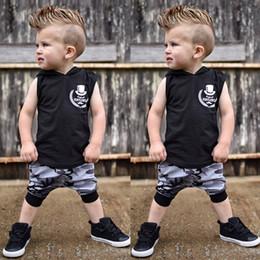 camuflagem calça bebê menino Desconto Crianças da criança Roupas Set Baby Boy Outfits Carta Imprimir Encabeça Colete Tops + Calças de Camuflagem Set ropa recien traje nacido