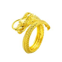 dragão chinês dragão Desconto Homens de luxo anéis 24 K banhado a ouro Chinês clássico Anel de Dragão Moda Hip hop Mens designer anel