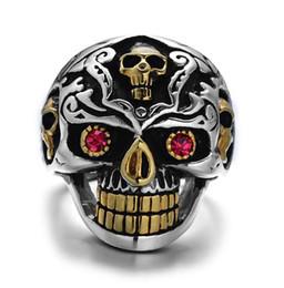 Doppel-finger-legierung ring online-Neue Art und Weisehip-Hop-Schmucksachelegierung rote Augenschädelzusätze Pers5onlichkeitringfelsenzeigefingerring-Doppelfarbe