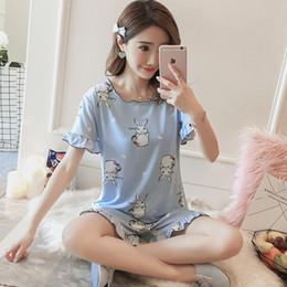 ef5337df99 Korean Short Sleeve Women Cute Pajamas Japanese Kawaii Cartoon Rabbit Print Sleepwear  Casual Home Wear Two Piece Sets Clothes