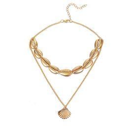 Collar de aleación bohemia online-Concha de múltiples capas collares pendientes de moda collar llamativo para las mujeres de la aleación Seashell Beach Party bohemio joyería accesorios DHL
