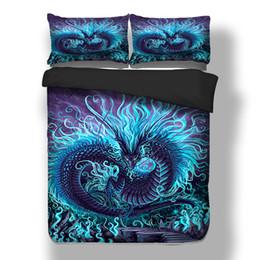 Mor Mavi ejderha yatak 3D Baskı nevresim yatak seti tek ikiz tam kraliçe kral çarşaflar nereden