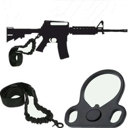 Sling singolo bungee online-AR15 Tactical Rifle Sling Single Point Sling Strap + Mount con piastra doppia Bungee End Plate Mount Adapter Cinghia di caccia regolabile