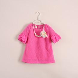 Collar de limon online-80-120 cm Niñas bebés Hermoso collar de perlas + Vestido de manga corta 2pcs set kids Bud flores de seda vestido niño vestido de una sola pieza Marca de ropa