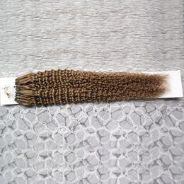 2019 estensioni dei capelli umani verdi microloop Capelli vergini malesi Micro Loop Estensioni dei capelli umani 1g / s ricci 100% umani Micro perline Link Remy Capelli 100g sconti estensioni dei capelli umani verdi microloop