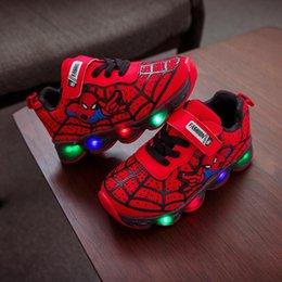 casual desenhos animados sapatos miúdos Desconto 2020 Moda Homem Aranha Miúdos dos desenhos animados sapatos vendas quentes LED crianças iluminadas sapatilhas ocasionais de ténis toda a temporada brilhante bebés meninos sapatos