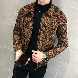 leopard print jacket mens Rabatt Freizeitjacke Herren Chaqueta Hombre Bomberjacke Herren 2019 Herbst Leopardenmuster Reißverschluss Flow Loose Coat Chaqueta Hombre