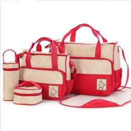Sacchetti di pannolini di alta qualità online-8 colori multi-funzione 5 pezzi Set pannolini borse pannolini mamma zaini di alta qualità borse per il latte caldo sacchetto di spesa tote pannolini accatastatori
