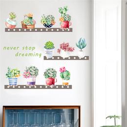 2019 adesivos de parede de vinil pássaros de árvore negra Criativo suculentas cactus pot planta adesivos de parede para quartos de crianças sofá fundo home decor decalques de parede pvc mural art posters