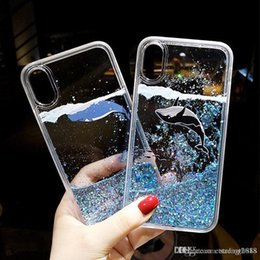Telefones dolphin on-line-Para iPhone / Huawei Bonito Caso Glitter Líquido Quicksand Dolphin Dynamic Phone Cover