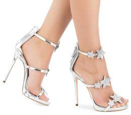 Strass sandales gladiateur argent en Ligne-Étoile Strass À Talons Hauts Femmes Sandales Argent Cristal Sandales Gladiator Femmes D'été Sexy Party Chaussures Femmes