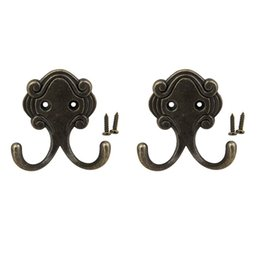 Винтажные крючки для одежды онлайн-2PCS Vintage Retro wall mounted rack dual hooks hats coat towel rack hanger Hook