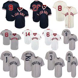 Бейсбольные майки бостон онлайн-Мужские трикотажные изделия Boston Red 1975 года Fred Lynn Sox Карл Ястржемски Джим Райс Луис Тиант Бобби Доерр Коллекция Уильямса Куперстауна Бейсбол Джерси