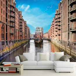 city bedroom wallpaper Promo Codes - European stereo 3d city views wallpaper Venice building large mural simple living room bedroom sofa TV background Wallpaper