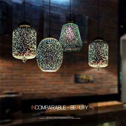lámparas colgantes de lámpara Rebajas Moderno 3D colorido romántico cielo estrellado colgando de la lámpara de vidrio lámpara colgante accesorio de iluminación E27 para el dormitorio restaurante sala de estar